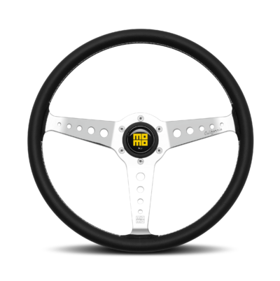 Porsche Momo steering wheel California heritage Polished spokes/black leather 360mm.