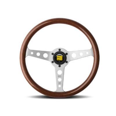 Porsche Momo steering wheel Indy Heritage Mahogany Wood/silver spoke 350mm.