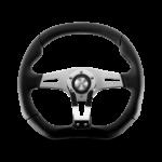 Porsche Momo steering wheel Trek R Chrome/black leather 350mm.