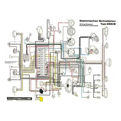 Porsche 356BT5 Wiring diagram for 356B T5 1960-61 models (please call/Email before ordering)