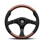 Porsche Momo steering wheel Dark Fighter Black leather/wood 350mm.