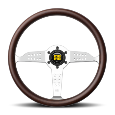 Porsche Momo steering wheel Grand Prix Mahogany wood/silver spoke 350mm.