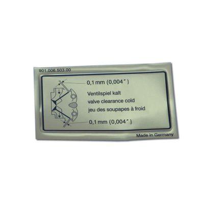 valve clearance decal 911-912 65-89