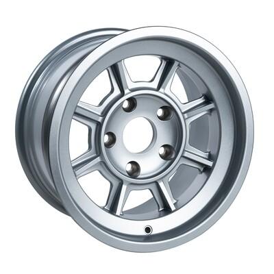 "Group 4 Wheel PAG1580P Satin Silver 15 x 8""."