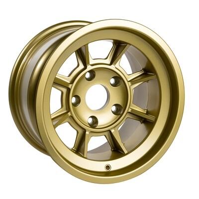 "Group 4 Wheel PAG1590P Satin Gold 15 x 9""."