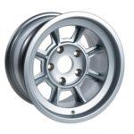 "Group 4 Wheel PAG1590P Satin Silver 15 x 9""."