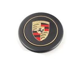 11 Black Hub Center Cap with full-color, embossed Porsche Crest; For Fuchs Wheels Fits 911 912 924S 944