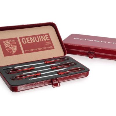 "Genuine Porsche , five-piece tool set from Porsche Classic contains a range of screwdrivers with a ""PORSCHE"" Logo on the plastic handles."