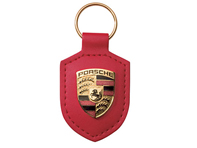 Porsche key ring metal crest on red leather strap , with metal ring