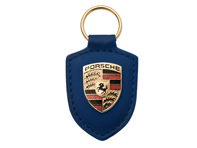 Porsche key ring metal crest on blue leather strap , with metal ring