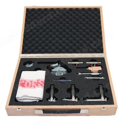 Porsche Classic Tool Set For Carburetor Tuning. Accelerator Pump Vial, Float Level Gauges for Solex, Zenith and Weber, Air Flow Meter, Wrenches and PORSCHE Shop Towel. All in a beautiful wooden box.